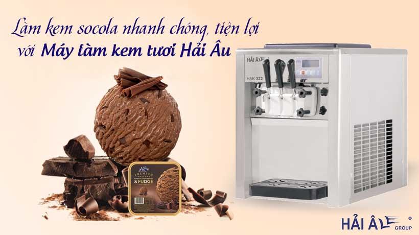 Làm kem socola với máy làm kem hải âu