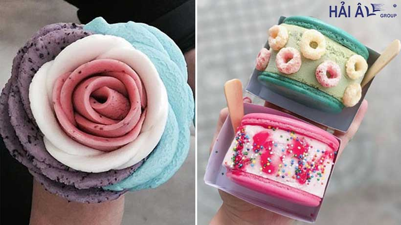 máy làm kem bông hoa hồng